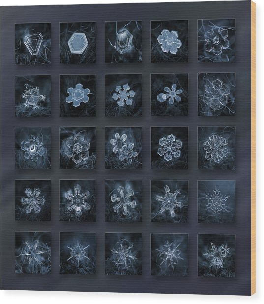 Snowflake Collage - Season 2013 Dark Crystals Wood Print