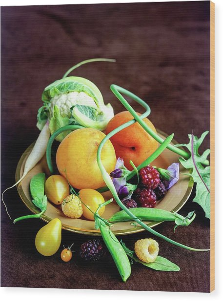 Seasonal Fruit And Vegetables Wood Print
