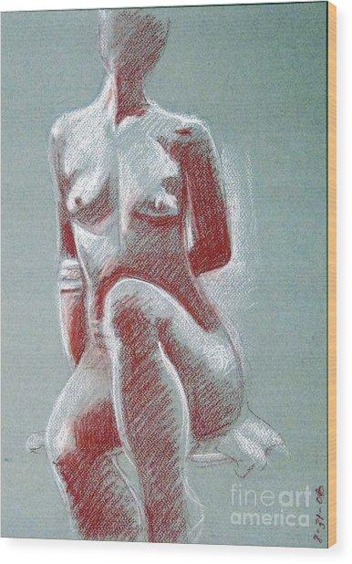 Seated Female Model Wood Print