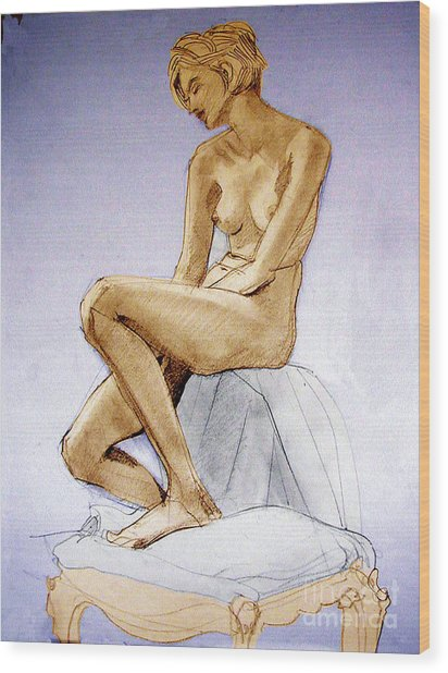 Tinted Figure Drawing Of A Seated Female Nude Dreaming Wood Print