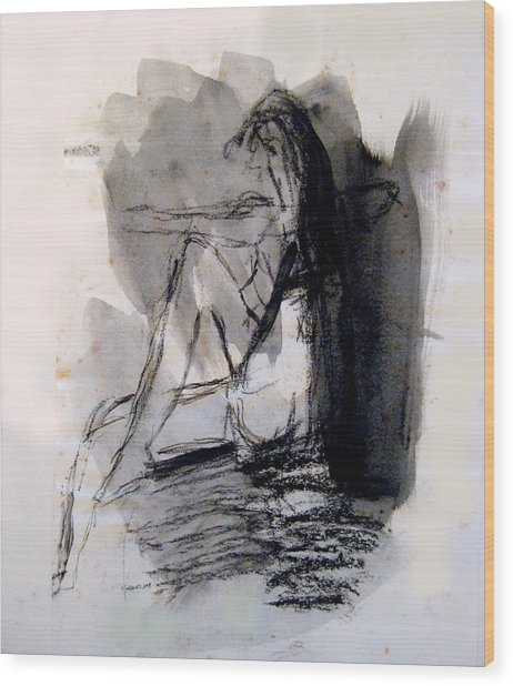 Seated Figure Ink Wash Wood Print by James Gallagher