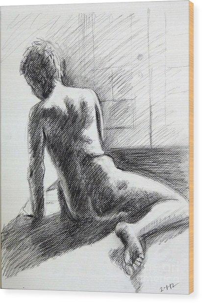 Seated Male Back Wood Print