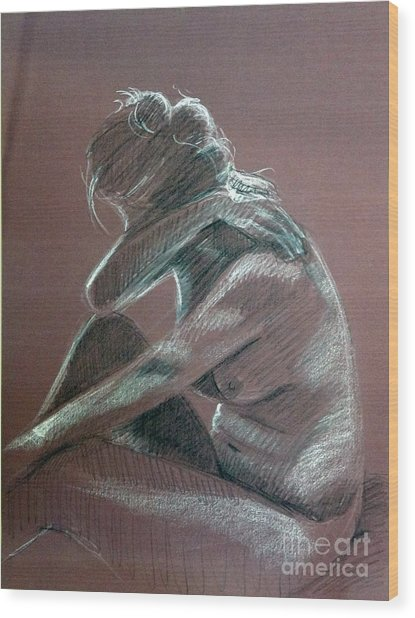 Seated Woman Side Light Wood Print