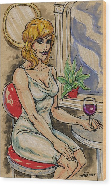 Seated Woman With Wine Wood Print