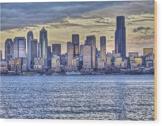 Seattle At Twilight From Alki Beach Wood Print