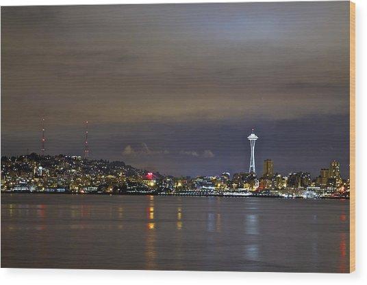 Seattle Cityscape At Night Wood Print