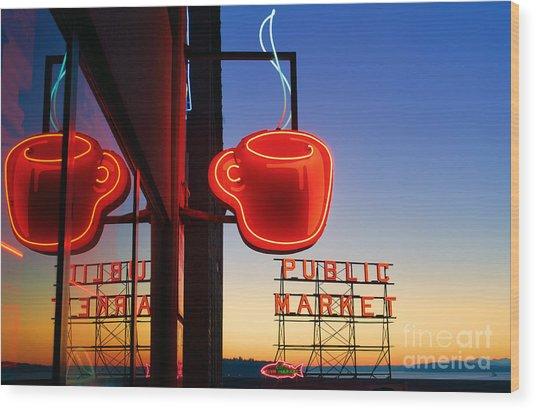 Seattle Coffee Wood Print