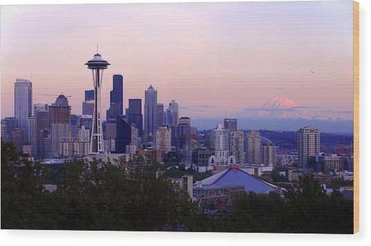 Seattle Dawning Wood Print