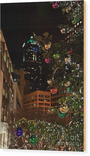 Seattle Downtown Christmas Time Art Prints Wood Print