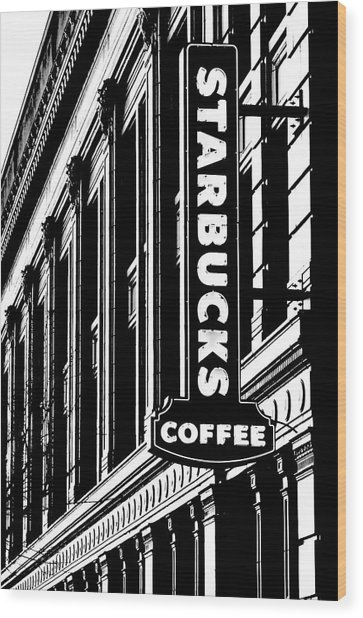 Seattle Icon Black And White Wood Print