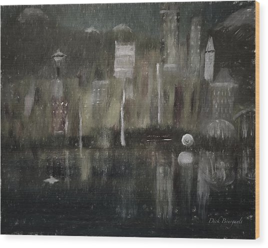 Seattle In The Rain Cityscape Wood Print