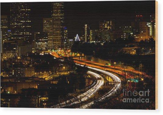 Seattle Light Trails Wood Print