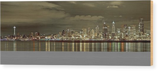 Seattle Lights At Night From Alki Wood Print