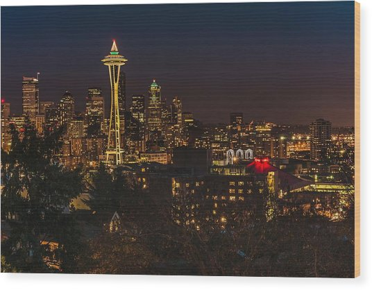 Seattle Night Lights Wood Print