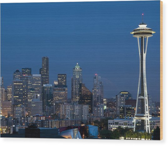 Seattle Nights Wood Print by David Yack