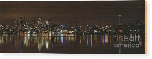 Seattle Panorama Wood Print by Eddie Yerkish
