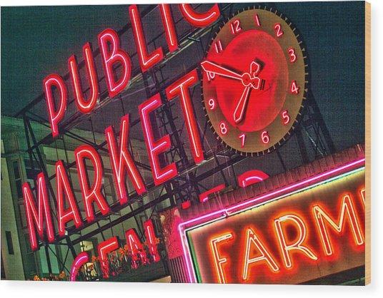 Seattle Pike Street Market Wood Print