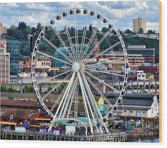 Seattle Port Ferris Wheel Wood Print