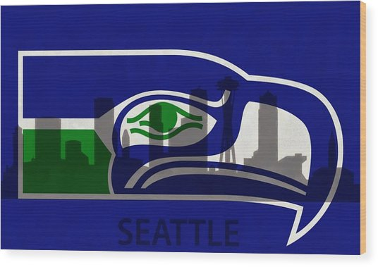Seattle Seahawks On Seattle Skyline Wood Print