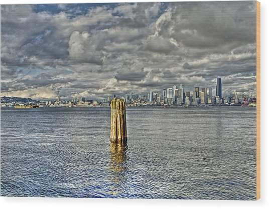 Seattle Skyline And Cityscape Wood Print