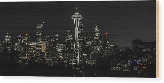 Seattle Skyline From Kerry Park Wood Print by CarolLMiller Photography