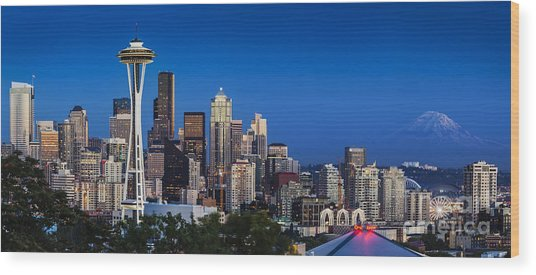 Wood Print featuring the photograph Seattle Skyline Panoramic by Brian Jannsen