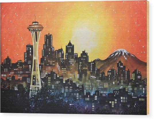 Seattle Sunset Wood Print