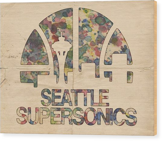 Seattle Supersonics Poster Vintage Wood Print