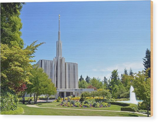 Seattle Temple - Horizontal Wood Print