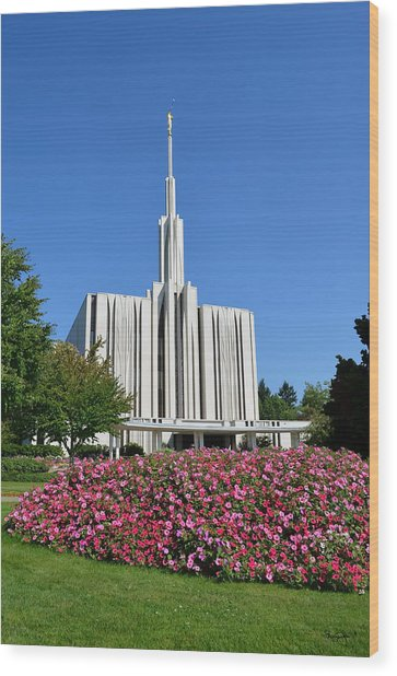 Seattle Temple Wood Print