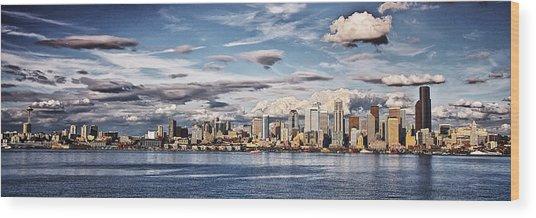 Seattle Washington - Skyline 4 Wood Print