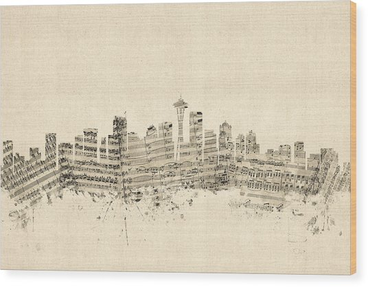 Seattle Washington Skyline Sheet Music Cityscape Wood Print
