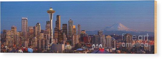 Seattle Winter Evening Panorama Wood Print