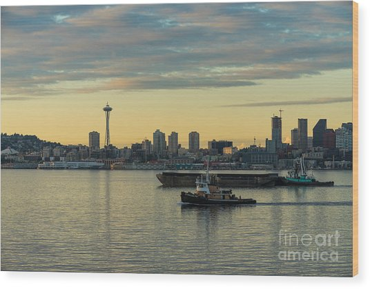 Seattles Working Harbor Wood Print