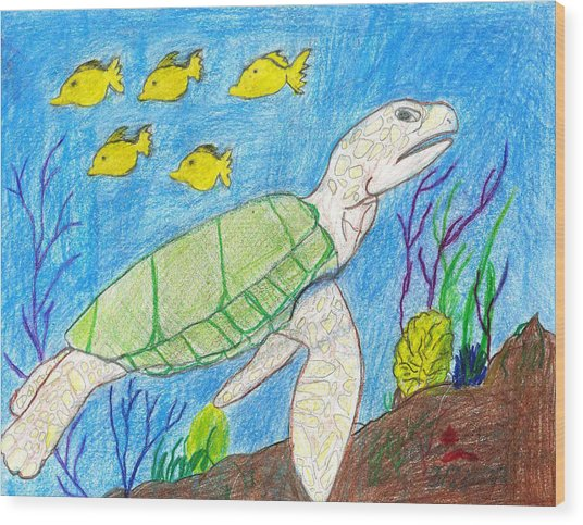 Seaturtle Swimming The Reef Wood Print by Fred Hanna