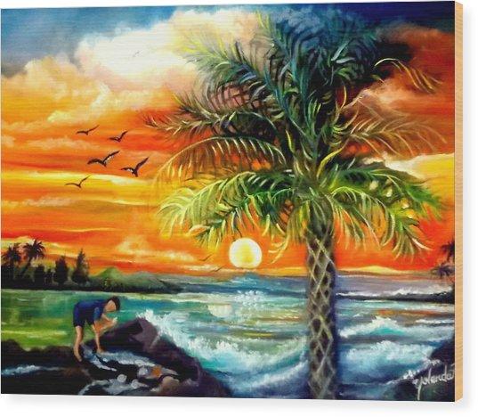 Seawaves Sunset In Tampa Wood Print