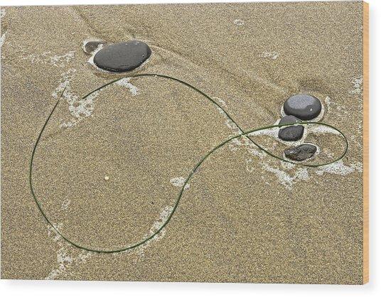 Seaweed Sand And Stones Wood Print