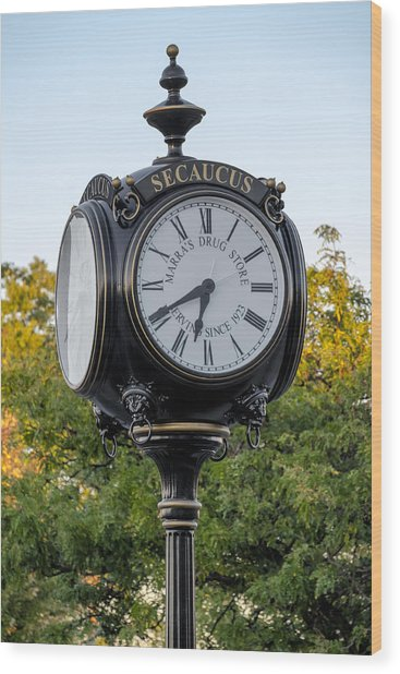 Secaucus Clock Marras Drugs Wood Print