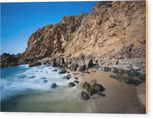 Secluded Beach Cove Wood Print