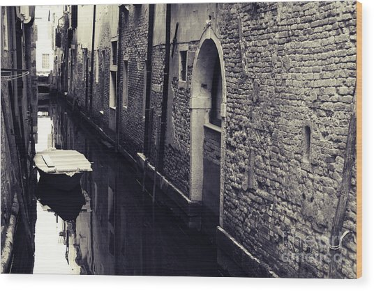 Secluded Canal In Venice Wood Print by Ernst Cerjak