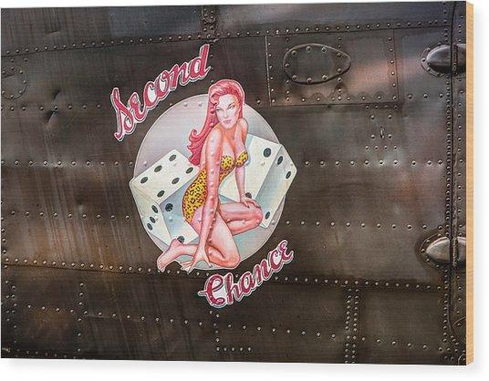 Second Chance - Aircraft Nose Art - Pinup Girl Wood Print