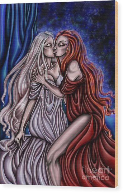 Secret Kisses Wood Print by Coriander  Shea