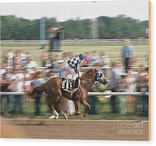 Secretariat Race Horse Winning At Arlington In 1973. Wood Print
