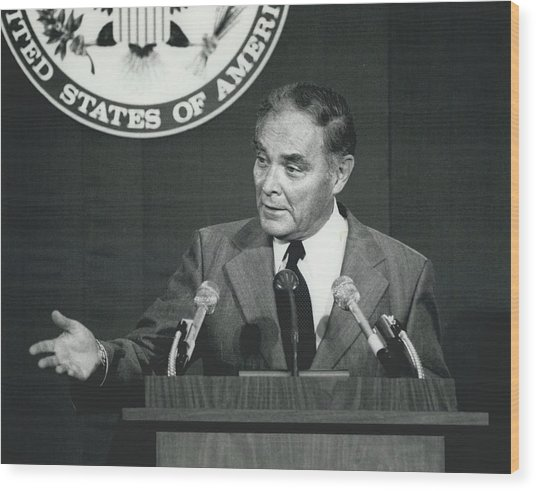 Secretary Haig Holds Press Conference Wood Print by Retro Images Archive