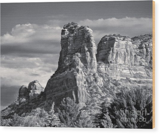 Sedona Arizona Mountain Peak - Black And White Wood Print