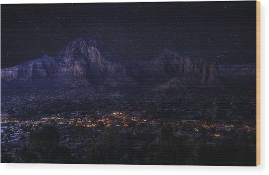 Sedona By Night Wood Print