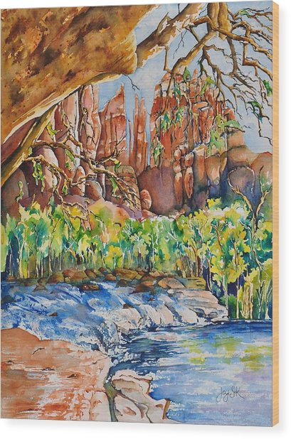 Sedona - Cathedral Rock Wood Print by Joy Skinner