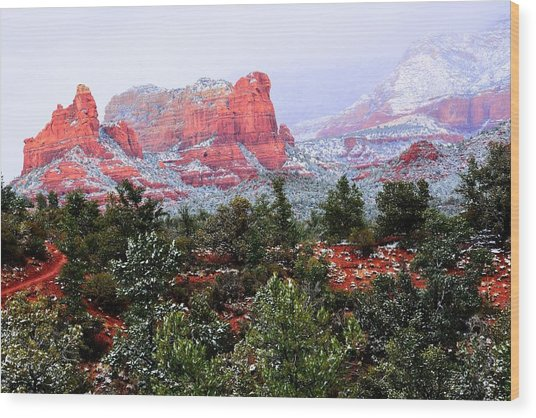 Sedona Snow Wood Print