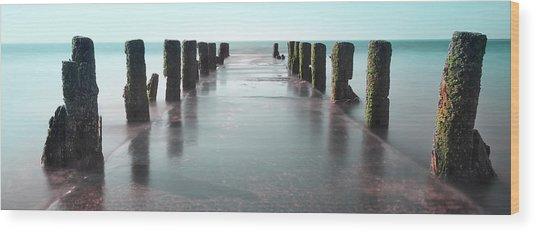 See-green Old Pier Panorama Wood Print by Dapixara