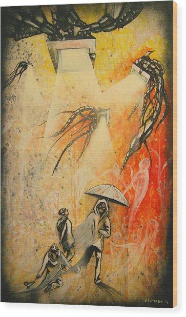 See Hear Speak No Evil Painting By Artist Ekaterina Chernova Wood Print